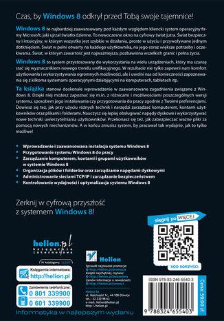 Tył okładki książki/ebooka Windows 8 PL. Zaawansowana administracja systemem