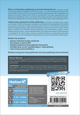 Tył okładki książki/ebooka Single Page Web Applications. Programowanie aplikacji internetowych z JavaScript