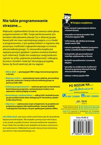 Tył okładki książki Excel 2013 PL. Programowanie w VBA dla bystrzaków