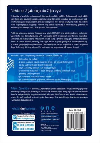 Tył okładki książki/ebooka Giełda. Podstawy inwestowania. Wydanie III zaktualizowane