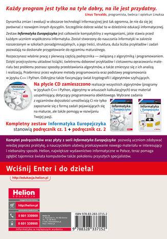 Tył okładki książki/ebooka Informatyka Europejczyka. Podręcznik dla szkół ponadgimnazjalnych. Zakres rozszerzony. Część 1 (Wydanie III)