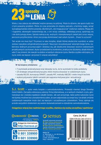 Tył okładki książki/ebooka 23 sposoby na lenia, czyli jak pokonać prokrastynację dobrym nawykiem