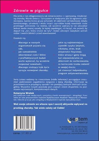 Tył okładki książki/ebooka Profilaktyka antyrakowa. Lekarz rodzinny