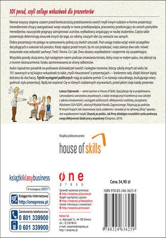 Tył okładki książki Tajniki wystąpień publicznych. 101 porad dla prezenterów