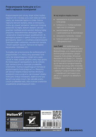 Tył okładki książki/ebooka Programowanie funkcyjne w języku C++. Tworzenie lepszych aplikacji