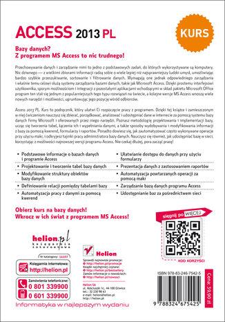 Tył okładki książki/ebooka Access 2013 PL. Kurs