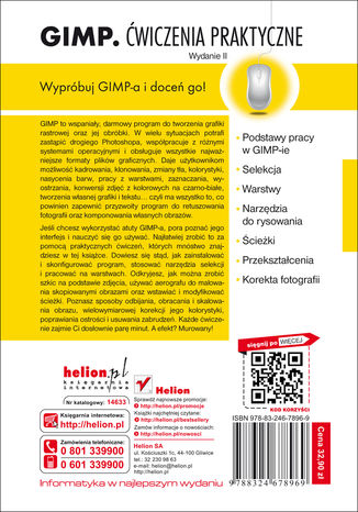 Tył okładki książki/ebooka GIMP. Ćwiczenia praktyczne. Wydanie II