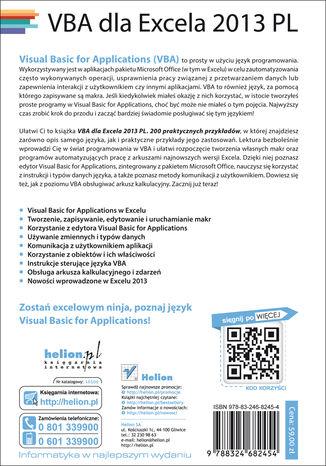 Tył okładki książki/ebooka VBA dla Excela 2013 PL. 200 praktycznych przykładów