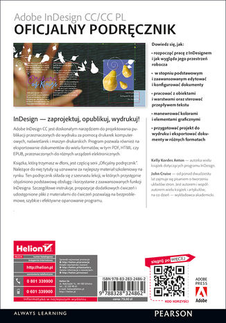 Tył okładki książki Adobe InDesign CC/CC PL. Oficjalny podręcznik