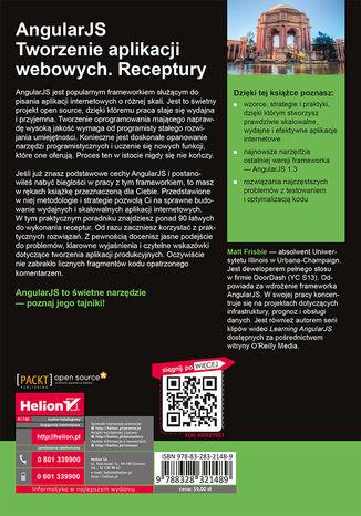 Tył okładki książki AngularJS. Tworzenie aplikacji webowych. Receptury