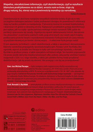 Tył okładki książki/ebooka Dezinformacja. Były szef wywiadu ujawnia metody dławienia wolności, zwalczania religii i wspierania terroryzmu