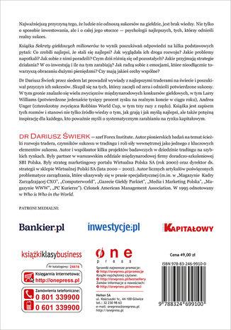 Tył okładki książki Sekrety giełdowych milionerów. Skuteczne strategie na światowych rynkach Forex, akcji, surowców