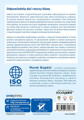 Tył okładki książki/ebooka System zarządzania jakością według normy ISO 9001:2015