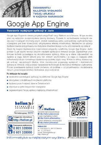 Tył okładki książki/ebooka Google App Engine. Tworzenie wydajnych aplikacji w Javie