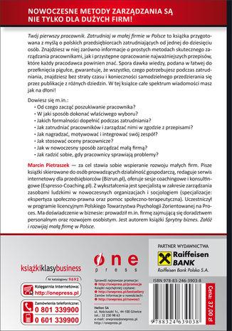 Tył okładki książki/ebooka Twój pierwszy pracownik. Zatrudniaj w małej firmie w Polsce
