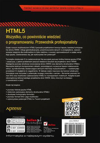 Tył okładki książki/ebooka HTML5. Wszystko, co powinniście wiedzieć o programowaniu. Przewodnik profesjonalisty