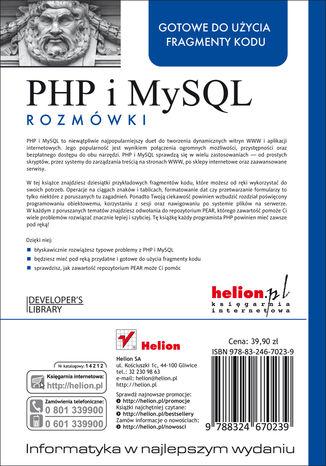 Tył okładki książki/ebooka PHP i MySQL. Rozmówki