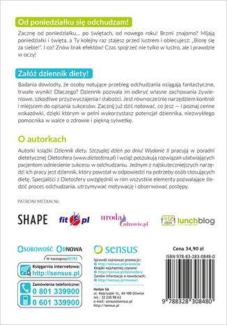 Tył okładki książki/ebooka Dziennik diety. Szczuplej dzień po dniu! Wydanie 2