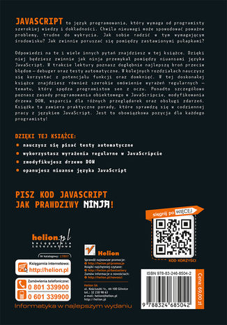 Tył okładki książki/ebooka Tajemnice JavaScriptu. Podręcznik ninja