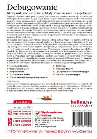 Tył okładki książki/ebooka Debugowanie. Jak wyszukiwać i naprawiać błędy w kodzie oraz im zapobiegać