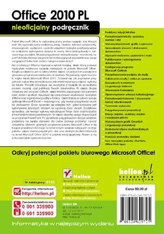 Tył okładki książki/ebooka Office 2010 PL. Nieoficjalny podręcznik