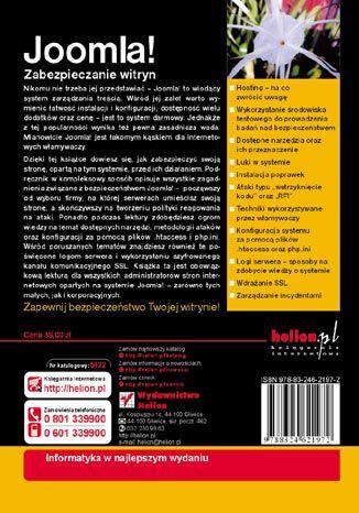Tył okładki książki/ebooka Joomla! Zabezpieczanie witryn