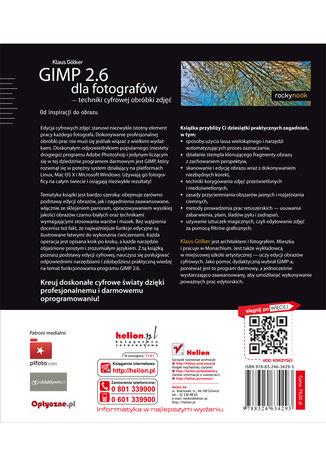 Tył okładki książki/ebooka GIMP 2.6 dla fotografów - techniki cyfrowej obróbki zdjęć. Od inspiracji do obrazu