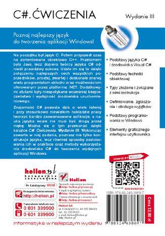 Tył okładki książki/ebooka C#. Ćwiczenia. Wydanie III