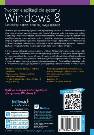 Tył okładki książki Tworzenie aplikacji dla systemu Windows 8. Zaprojektuj, napisz i opublikuj swoją aplikację