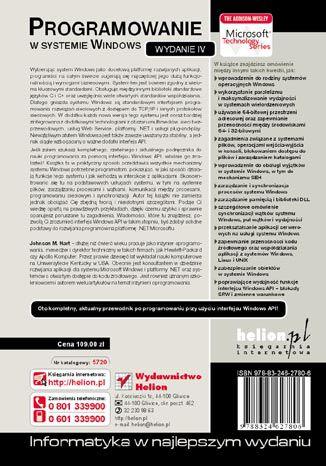 Tył okładki książki/ebooka Programowanie w systemie Windows. Wydanie IV