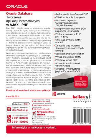 Tył okładki książki Oracle Database. Tworzenie aplikacji internetowych w AJAX i PHP