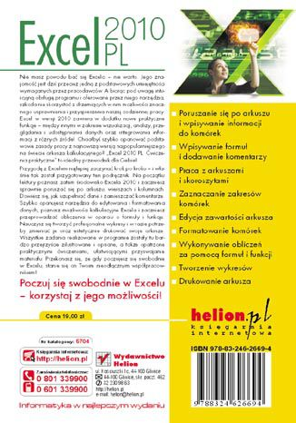 Tył okładki książki Excel 2010 PL. Ćwiczenia praktyczne