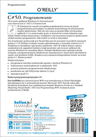 Tył okładki książki/ebooka C# 5.0. Programowanie. Tworzenie aplikacji Windows 8, internetowych oraz biurowych w .NET 4.5 Framework