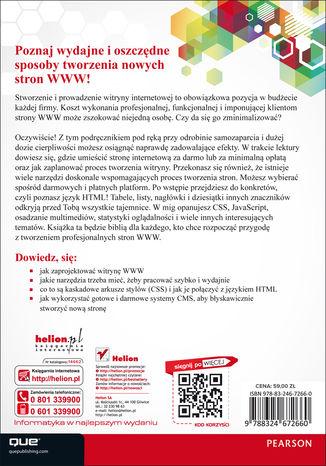Tył okładki książki Darmowe sposoby na tworzenie profesjonalnych stron WWW. Podręcznik webmastera. Wydanie III