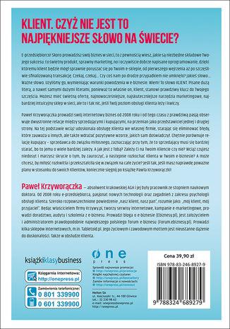 Tył okładki książki/ebooka 70 sposobów na rozkochanie KLIENTA... w Twoim e-biznesie