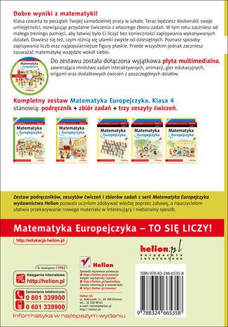 Tył okładki książki/ebooka Matematyka Europejczyka. Zbiór zadań dla szkoły podstawowej. Klasa 4