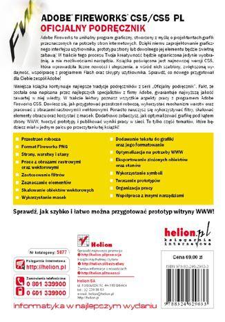 Tył okładki książki/ebooka Adobe Fireworks CS5/CS5 PL. Oficjalny podręcznik