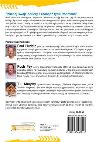Tył okładki książki Ironman. 24 tygodnie przygotowań do triatlonu długodystansowego