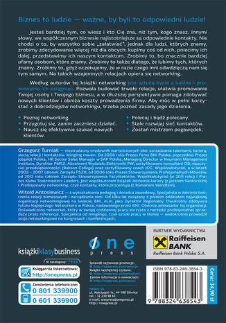 Tył okładki książki/ebooka Praktyczny poradnik networkingu. Zbuduj sieć trwałych kontaktów biznesowych