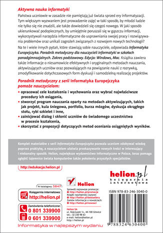 Tył okładki książki/ebooka Informatyka Europejczyka. Poradnik metodyczny dla nauczycieli informatyki w szkołach ponadgimnazjalnych. Zakres podstawowy. Edycja: Windows, Mac