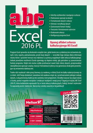 Tył okładki książki ABC Excel 2016 PL