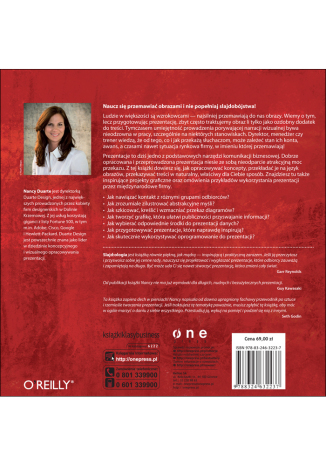 Tył okładki książki Slajd:ologia. Nauka i sztuka tworzenia genialnych prezentacji