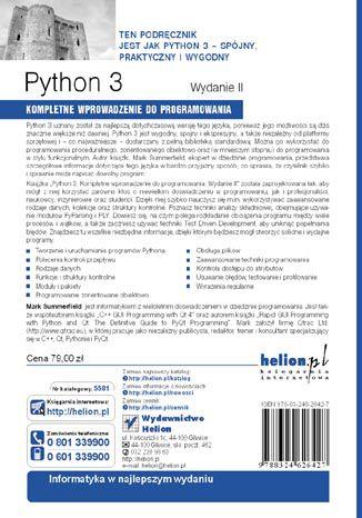 Tył okładki książki Python 3. Kompletne wprowadzenie do programowania. Wydanie II
