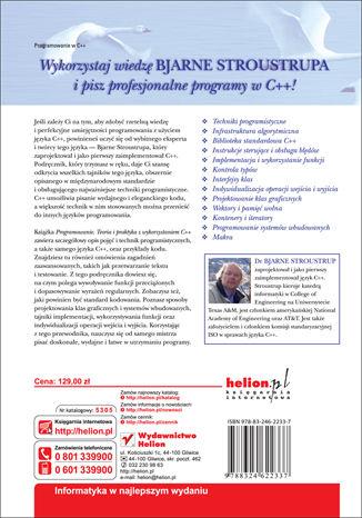 Tył okładki książki/ebooka Programowanie. Teoria i praktyka z wykorzystaniem C++