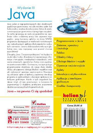 Tył okładki książki Java. Ćwiczenia praktyczne. Wydanie III