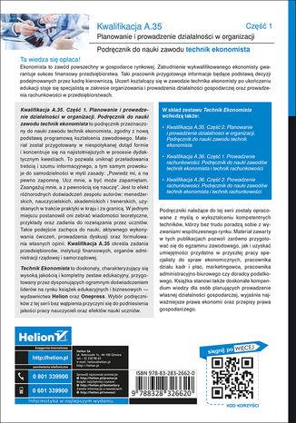 Tył okładki książki/ebooka Kwalifikacja A.35. Część 1. Planowanie i prowadzenie działalności w organizacji. Podręcznik do nauki zawodu technik ekonomista