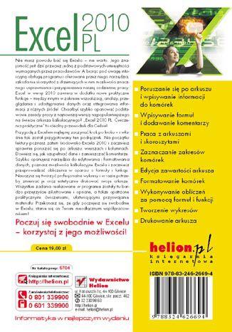 Tył okładki książki/ebooka Excel 2010 PL. Ćwiczenia praktyczne