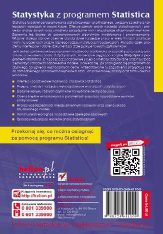 Tył okładki książki/ebooka Statystyka z programem Statistica