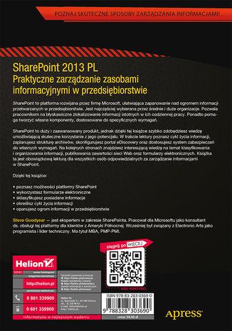 Tył okładki książki/ebooka SharePoint 2013 PL. Praktyczne zarządzanie zasobami informacyjnymi w przedsiębiorstwie