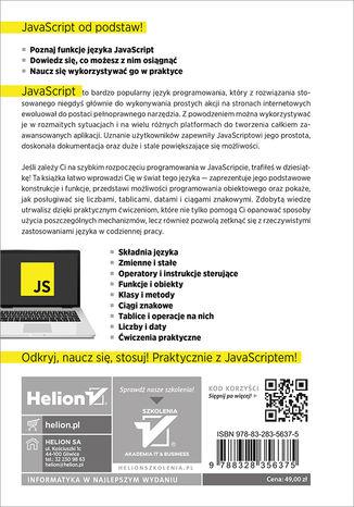 Tył okładki książki/ebooka JavaScript. Tworzenie nowoczesnych aplikacji webowych